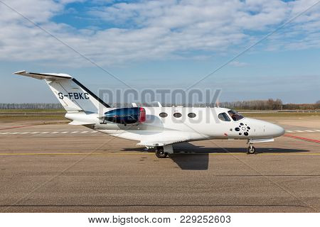 Lelystad, The Netherlands - February 02, 2018: Dutch Lelystad Airport With Private Cessna Citation M