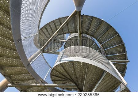 Detail Of Watch Tower Made Of Two Twisted Steel Spiral Staircases Near Lelystad Airport In The Nethe