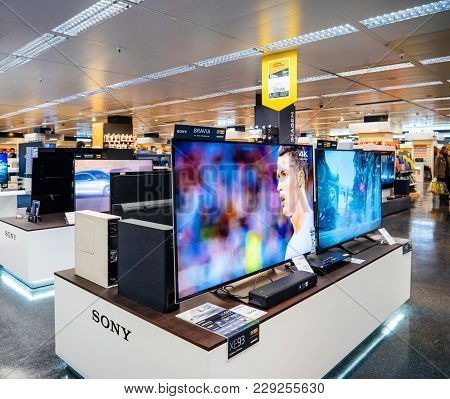 Lisbon, Portugal - Feb 10, 2018: Large Selection Of Sony Bravia Uhd Qled Display For Sale In Retail