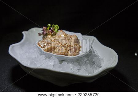 Kiev, Ukraine - February 26, 2018: Tar-tar Of Salmon On Ice.