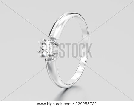 3d Illustration White Gold Or Silver Engagement Solitaire Double Prong Basket Diamond Ring On A Gray