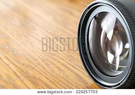 Professional Photography Equipment, Photographer Work Kit. Close-up Macro Shot Of Photo Camera Objec