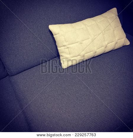 Dark Purple Sofa With White Cushion. Comfortable Furniture.