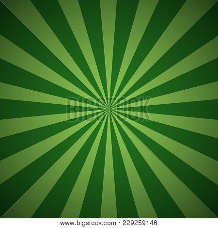 Dark Green Grunge Sunbeam Background. Sun Rays Abstract Wallpaper. Vector Illustration