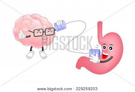 Cute Human Stomach Talk To Brain Characters By Can Telephone. Cartoon  Illustration Isolated On Whit