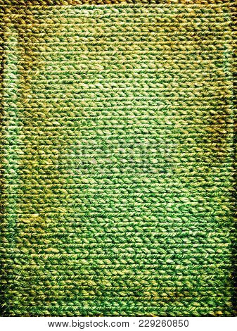 Bright Green Grungy Knitted Background. Handcrafted Vintage Canvas.