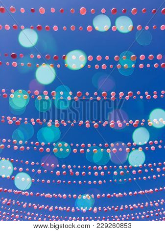 Blue Sky Background With Balloon Decorations And Bokeh Lights. Ste-catherine Street, Gay Village Nei
