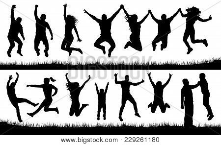 Crowd Of People Jumping, Friends Man And Woman Set. Cheerful Girl And Boy Silhouette Vector Collecti