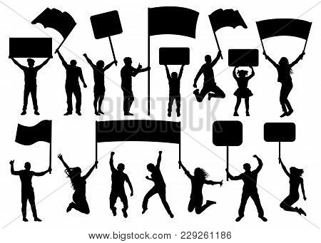 Crowd Of People Silhouette Set. Banner, Transparency, Flag. Concert, Sport, Party, Demonstration. Ve