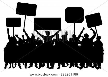 Crowd Of People With Banners, Silhouette Vector. Demonstration, Manifestation, Protest, Strike, Revo