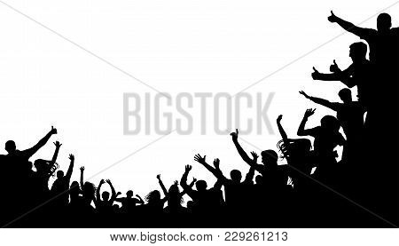 Crowd People, Fan Cheering. Illustration Soccer Background, Vector Silhouette. Mass Mob At The Stadi