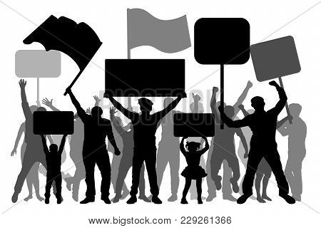 Manifestation, Demonstration, Protest, Revolution, Strike. A Crowd Of People With Flags, Banners. Is