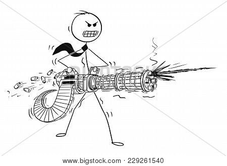 Cartoon Stick Man Drawing Conceptual Illustration Of Angry Businessman Shooting From Rotary Machine