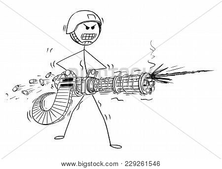 Cartoon Stick Man Drawing Conceptual Illustration Of Soldier Shooting From Rotary Machine Gun Cannon