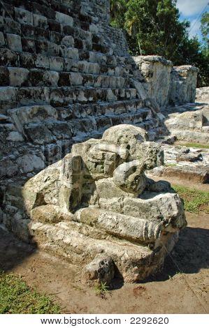 Jaguar Statue At Foot Of Mayan Temple