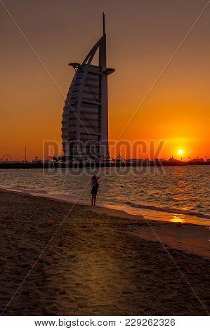 Dubai, United Arab Emirates - Jan 10, 2018. Sunset View Of Burj Al Arab Hotel On Jumeirah Beach In D