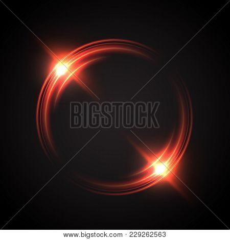 Abstract glowing circles. Bright and brilliant halo. Light optical effect. Vector illustration poster