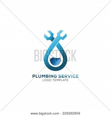 Plumbing Service Company Logo Vector Concept. Water Shape With Wrench Simple And Stylish Logotype.