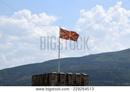 Macedonian National Flag In Skopje Fortress. Macedonia.