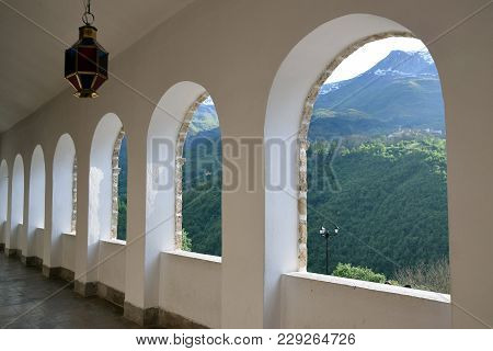 Mountain View From Saint Jovan Bigorski Monastery. Macedonian Orthodox Monastery, Macedonia.