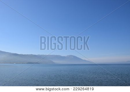 Ohrid Lake View With Mountain Background, Macedonia.