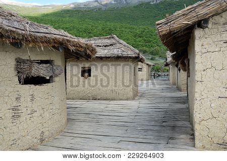 Stuffed Bear In Hut, Bay Of Bones On Ohrid Lake. Macedonia.