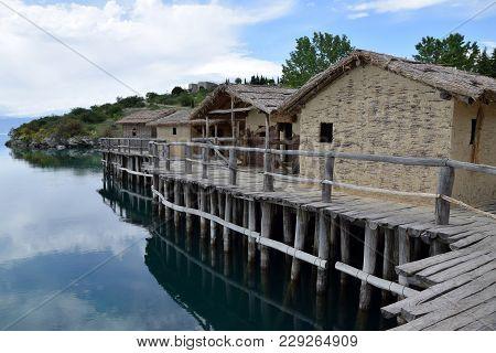 Huts In Bay Of Bones On Ohrid Lake. Macedonia.