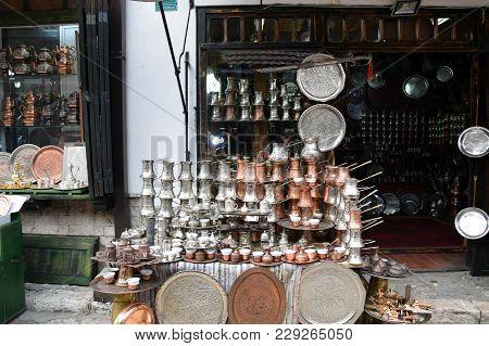 Bazaar with souvenirs in old Sarajevo marketplace. Sarajevo, Bosnia and Herzegovina. poster