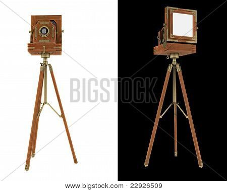 Old Large Format Camera On Tripod Isolated