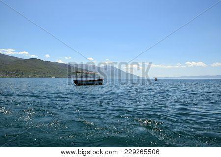 Boat Moored In Ohrid Lake. Ohrid, Macedonia.