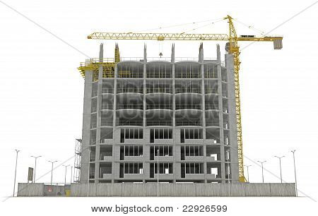 Site area: tower crane and unfinished buiding isolated over white poster