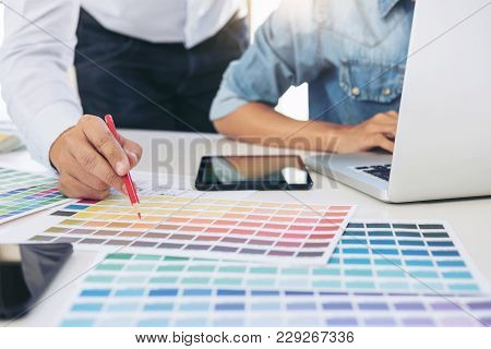 Two Interior Design Or Graphic Designer At Work On Project Of Architecture Drawing With Work Tools A