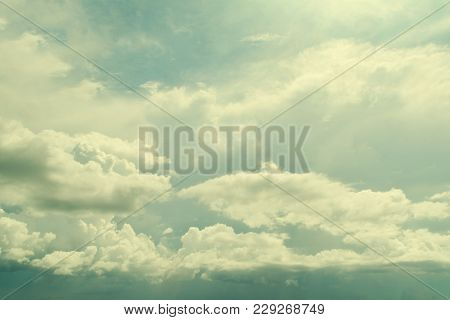 Blue Sky With Clouds Nature Sring  Summer   Background