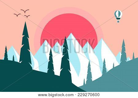 The Sun Goes Over The Mountains. Vector Illustration In Style Of Flat