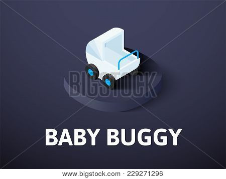 Baby Buggy Icon, Vector Symbol In Flat Isometric Style Isolated On Color Background