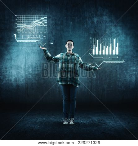 Teenager Girl Standing And Holding Graphic Icons