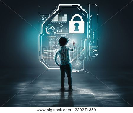 Businessman Working Of A Wall With A Toch Screen And A Lock. The Concept Of Working On A Network And