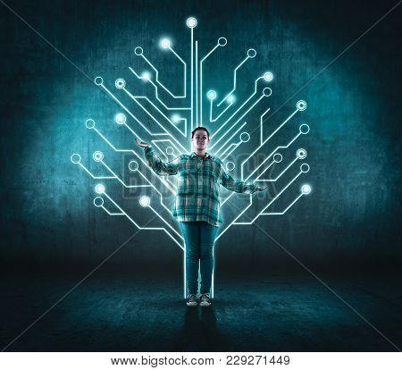 Teenager Girl And A Circuit Board Tree, Network Concept
