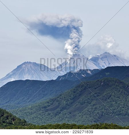 Scenery Summer Mountain Landscape Of Kamchatka Peninsula: View Of Explosive-effusive Eruption Of Zhu