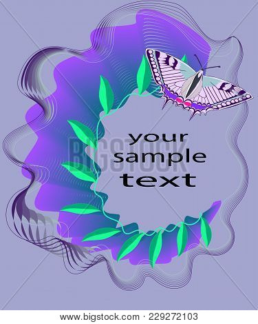 Abstraction On A Purple Background With Floral Elements And Butterfly Machaon