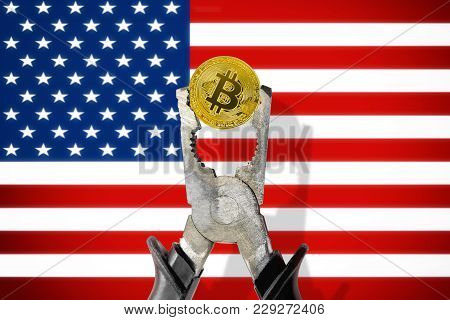 Bitcoin Coin Being Squeezed In Vice On The United States (usa) Flag Background; Concept Of Cryptocur