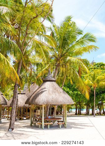ILE AUX CERFS ISLAND/ MAURITIUS - FEBRUARY 25, 2018: Famous touristic resort near Mauritius coast is a known destination for many water sports and leisure activities.