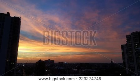 Pink Sky At Night, Pink Cirrus Clouds At Sunset With A Blue Background, Beautiful, Breathtaking, Uni