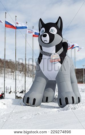 Petropavlovsk Kamchatsky City, Kamchatka Peninsula, Russia - March 1, 2018: 10-meter Pneumatic Figur