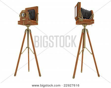 Front And Back Side Views Of Vintage Large Format Camera