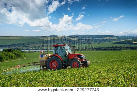 Varna, Bulgaria - June 10, 2016: Kubota Tractor In Field. Kubota Corporation Is A Japanese Heavy Equ