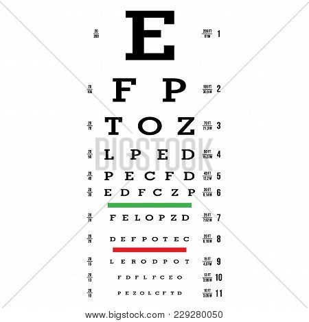 Eye Test Chart Vector. Letters Chart. Vision Exam. Optometrist Check. Medical Eye Diagnostic. Sight,