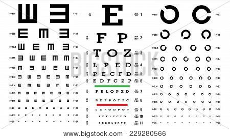 Eye Test Chart Vector. Vision Exam. Optometrist Check. Medical Eye Diagnostic. Different Types. Sigh