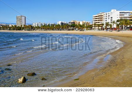 A panoramic view of Salou, Spain, and its main beach