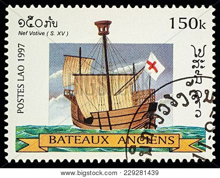 Moscow, Russia - March 03, 2018: A Stamp Printed In Laos Shows Ancient (15th-century) Sailing Ship,
